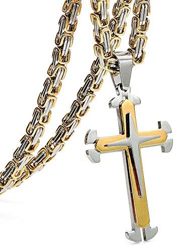 Sailimue 5MM Acero Inoxidable Cruz Collar para Hombre Colgante Cadena Bizantina Collar Gotico Dorado, 56cm