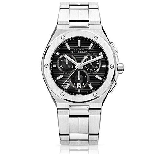 Michel Herbelin Men's Watch–Chronograph–Black Background–37645/B14