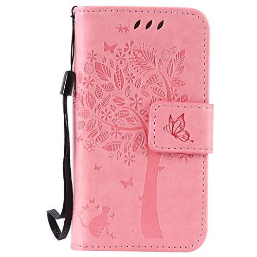 Coque pour iPhone 4/4S,Cozy Hut Coque PU Cuir Silicone Etui Housse de Protection Coque Étui Case Cover,Flip Wallet Housse Arbre Feuille Papillon Chat Motif Style Design Mode Bookstyle Case Porte Carte rose