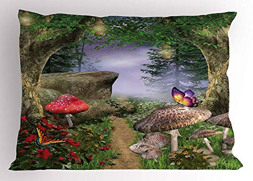 low Sham, Enchanted Nature Pathway with Magical Butterflies Fairytale Landscape Rocks, Decorative Standard Queen Size Printed Pillowcase,Tan Green Red ()
