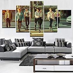 Cuadro en Lienzo Arte de la pared KPOP BTS 5 paneles Lienzo Impresión HD Pintura IDOL Cartel Casa de la pared Decoración,B,40x60x240x80x240x100x1