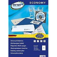 europe100 ELA027 Universaletiketten (210 x 297 mm, 100 Blatt/100 Etiketten) weiß