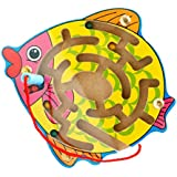 NF&E Wooden Puzzles Magnet Beads Slot Maze Board Game Magnetic Pen Labyrinth-Fish Eduactional Handcraft Toys