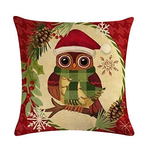 Nunbee Weihnachten Kissenbezug bettwäsche Platz Dekorative Akzente Setzen Sofa zierkissen Hirsch Elch Weihnachtsmann Nikolaustag Glocke Elf Rentier Rudolph Festive, Eule 45 * 45cm