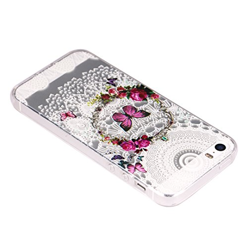 Coque iPhone 6S, SpiritSun Housse Étui TPU Silicone Clair Transparente Ultra Mince Souple Douce Coque pour Apple iPhone 6 6S (4.7 pouces) avec Motif Tribal - Lotus Fleur Bleu Wreath et Papillon