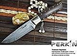 Cuchillo de caza con vaina de cuero damasco acero cuchillo
