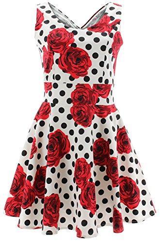 Shikha London Kleid Roses & Polka DOTS Dress 4669 Weiß M-L (Herzen London Und Kleider Rosen)