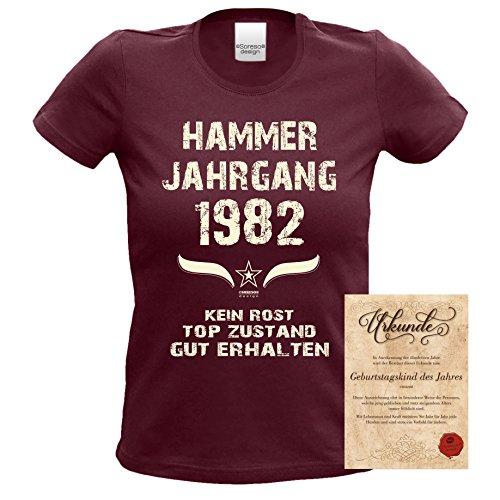 Geschenk zum 35. Geburtstag Hammer Jahrgang 1982 : Damen Frauen Mädchen Girlie Kurzarm T-Shirt - Geschenkidee Geburtstagsgeschenk Geschenkset Farbe: burgund Burgund