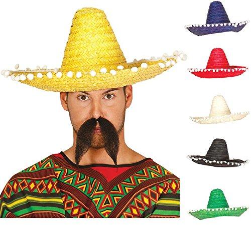 Guirca riesiger Stroh Sombrero für Erwachsene Mexiko Hut Farben groß Blau ca. 51 cm