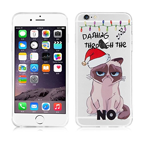 "iPhone 6 Hülle, JAMMYLIZARD Transparentes Gel Weihnachts-Sketch Back Cover aus Silikon für iPhone 6 / 6s 4.7"", CHRISTMAS IS COMING Grumpy Cat"
