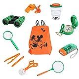 eSynic Kinder Outdoor Abenteuer Spielzeug Kit mit Fernglas Taschenlampe Kompass Pfeife Lupe Rucksack Pinzette Schmetterlingsnetz Beobachtung Zuchtbox