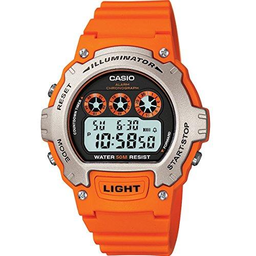Casio Mens Quartz Watch with Grey Dial Digital Display and Orange Resin Strap W-214H-4AVEF