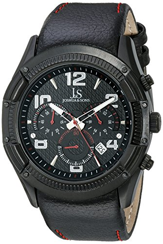 Joshua & Sons Men's JS69RD Analog Display Japanese Quartz Black Watch