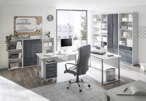 Stella Trading Office Lux Regal Breit, Holzdekor, Korpus: Lichtgrau, Front Glas Graphit Lackiert, 79 x 220 x 35 cm - 2