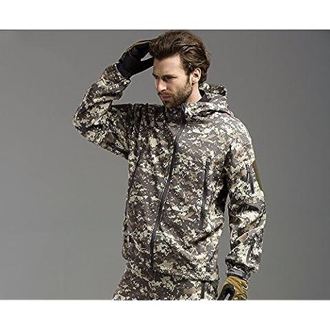 Outdoor camouflage fatiche catturato il vello giovane Ande a strato singolo guscio morbido di abbigliamento per uomini e donne cappotti invernali,Camouflage green,XXXL