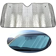 JUNGEN Coche parabrisas Parasol visera doble hoja de aluminio protección UV protector solar Plata (140*70CM)