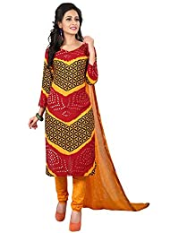Taboody Empire Blessed Multi Satin Cotton Handi Crafts Bandhani Work With Straight Salwar Suit For Girls And Women