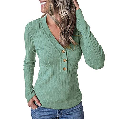 Watopi Damen V-Ausschnitt Lange Ärmel Pullover Oberteil Lässiges einfarbiges Elegant langärmliges Geripptes Pullover-Oberteil - Ralph Lauren-gerippte Jersey
