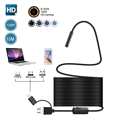 Endoscope USB C, Teepao Endoscope 3 en 1 étanche IP68 HD 1200P avec 10M Câble Semi Rigide, Endoscope Inspection Caméra avec 8 LED Ajustable pour Type C, Micro USB, Android, Windows PC, Mac (Noir, 10M)