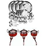 Royal Sapphire Stainless Steel Combo Set Dinner Set 24 Pcs And Orange Color Handi Set Of 3
