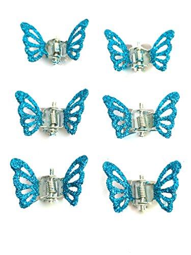 6er Pack Haarklemmen mit glitzernden Mini-Schmetterlingen, Haarclips, Haarzubehör