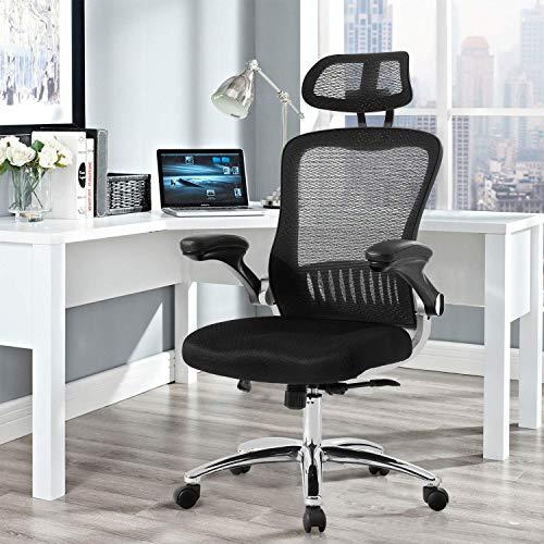 Merax Bürostuhl Ergonomischer Schreibtischstuhl Einstellbar Drehstuhl Computerstuhl Chefsessel mit Verstellbare Kopfstütze und Armlehnen Belastbar bis 120kg