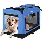 Leopet Faltbare Hundetransportbox Inklusive Polster Transportbox für Haustiere Hundebox Autobox für Hunde, Katzen und Kleintiere Farbe Blau, Größe XXL