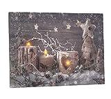Leinwandbild mit LED-Beleuchtung 30 x 40 cm Wandbild mit Kerzen und Windlicht Leuchtbild LED-Bild mit Flackereffekt Weihnachten