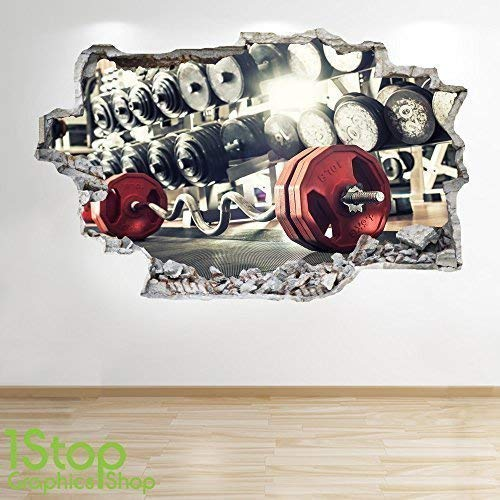 1Stop Graphics Shop Gymnasium Wandaufkleber 3D Optik - Body Building Fitness Schlafzimmer Lounge Wand Abziehbilder Z94 - Large: 70 cm x 111 cm