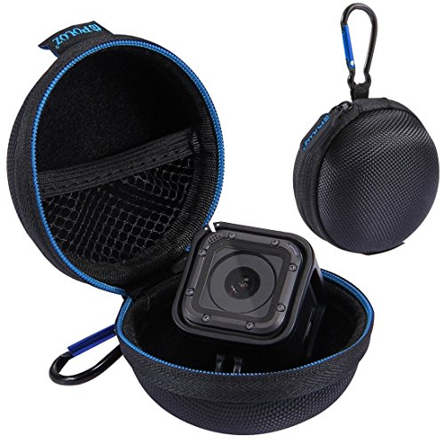 Puluz portable rotondo di stocker super mini storage case box con d-ring moschettone per gopro hero5 hero4 session cavo del caricatore auricolare bag storage... (custodia con moschettone)