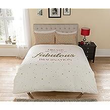 Pieridae Fabulous Juego de funda de edredón de almohada (cama individual doble King, Blanco, matrimonio
