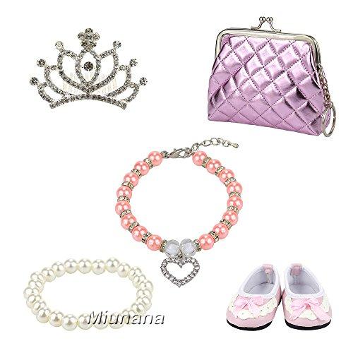 Miunana 5 Sets Schmuck Accessories Tasche Geldbörse Kette Armband Schuhe Süß Accessories Zubehör für 45-46cm Puppen 18 Inch Zoll Doll Geschenke für 45-50 cm Puppe American Girl Doll