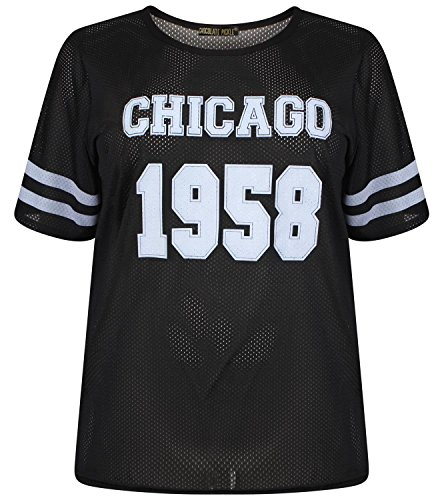 Chocolate Pickle ® Damen Neon Farbe Air Tech Sommer-Streifen Chicago 1958 Anzahl drucken Baggy T-Shirts 36-54 Black
