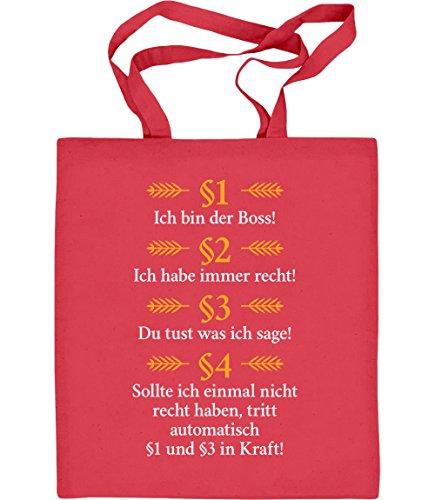 Geschenke für Juristen / Besserwisser - Ich bin der Boss Jutebeutel Baumwolltasche Rot