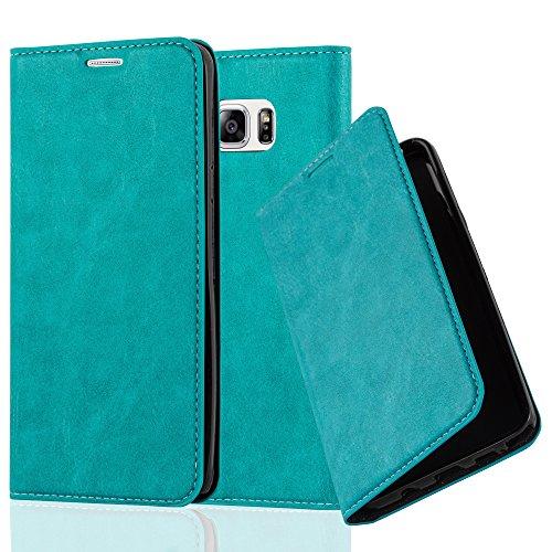 Cadorabo Hülle für Samsung Galaxy Note 5 - Hülle in Petrol TÜRKIS – Handyhülle mit Magnetverschluss, Standfunktion und Kartenfach - Case Cover Schutzhülle Etui Tasche Book Klapp Style