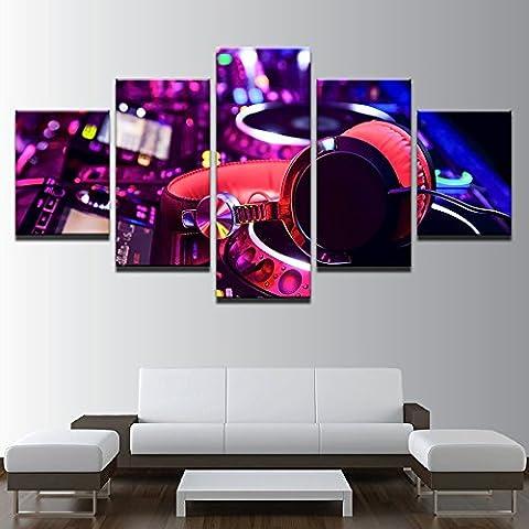 Leinwand HD gedruckte Malerei Frame Wohnzimmer Wand Kunst Bilder 5 Stück DJ Musik Instrument Mixer und Kopfhörer Poster, 40 x 60 40 x 80 40 x 100 cm, ohne Rahmen