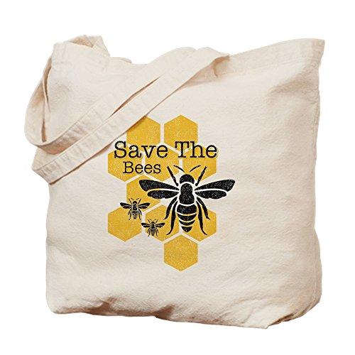 CafePress Honeycomb Save The Bees Tragetasche, canvas, khaki, M