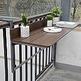 Ailj Table Pliante Murale, Balustrade du Balcon De La Cour Ajustable Table Suspendue Support Mural...