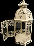 New 28cm Shabby Chic Cream Metal Candle Lantern
