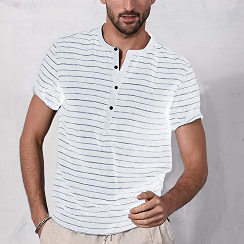 Uomo Camicia Maglietta Uomo Camicetta A Maniche Corte con Scollo T-Shirt Manica Corta con Bottone da Uomo Camicetta a Maniche Corte da Uomo