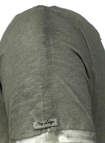 Key Largo Herren T-Shirt SHARE Used Look Farbverlauf Camouflage Details mit Brusttasche Grün