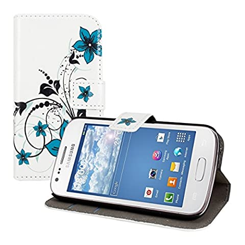kwmobile Étui en cuir synthétique chic pour Samsung Galaxy Ace 3 avec fonction support pratique. Design motif de fleurs en bleu noir blanc