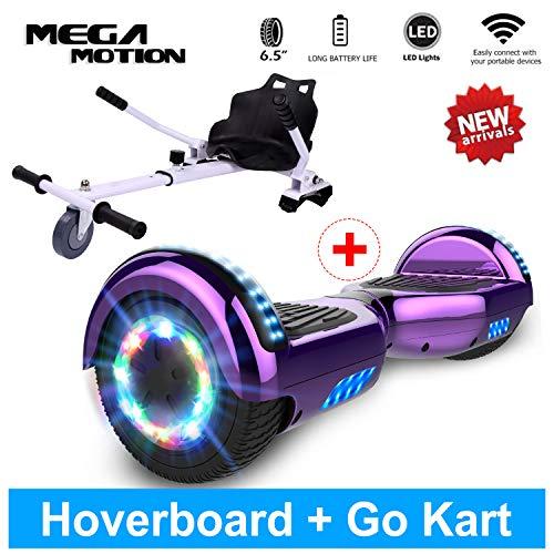 Mega Motion Hoverboard Colorata LED Luci con Bluetooth Musica Altoparlante per Bambini e Adulti Scooter autobilanciato (Q2 Grigio)