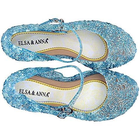 UK1stChoice-Zone Última Diseño Buena Calidad Niñas Princesa Reina de Nieve Jalea Partido Zapatos Zapatos de Fiesta sandalias (Azul,