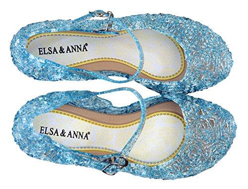 Última Diseño Buena Calidad Niñas Princesa Reina de Nieve Jalea Partido Zapatos Zapatos de Fiesta sandalias (Azul, 33)