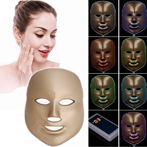 Havenfly [neue Version 2017] LED Photonen-Therapie 7 Farben Licht treatment Beauty Skin Care Verjüngung Pototherapy Maske PDT Beauty Face Pflege für Zuhause (Rose Golden)