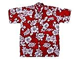 Ontop-Fashion Hawaiihemd Hawai Freizeit Hemd Shirt Viskose rot Hibiskus groß weiß, Größe:3XL