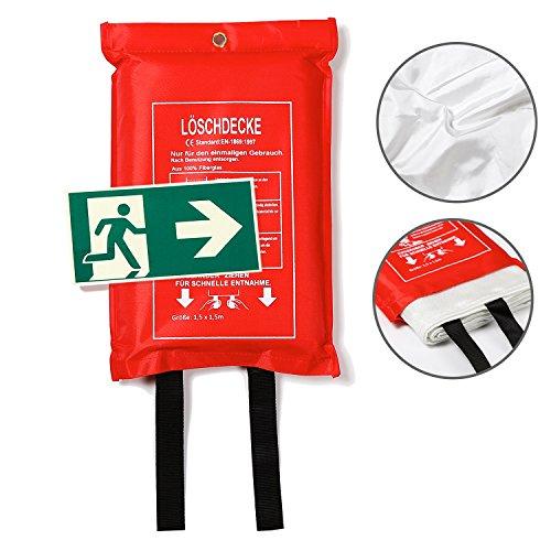 Amazy Löschdecke (XL | 1,5 x 1,5 m) inkl. Schutztasche + Fluchtweg Aufkleber – Brandschutzdecke nach DIN EN 1896 zum Löschen von Entstehungsbränden und für erhöhte Sicherheit im Haushalt