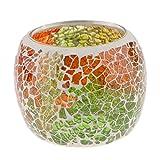 non-brand MagiDeal Mosaikglas Teelichthalter Teelicht Windlicht Kerzenhalter Mosaikglas Kugel bunt Ornament - Doppelfarbig