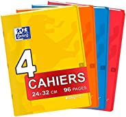 OXFORD Lot de 4 Cahiers Easybook 24x32 cm Couverture Polypro Grands Carreaux Seyès 96 Pages 90g Couleurs Assor